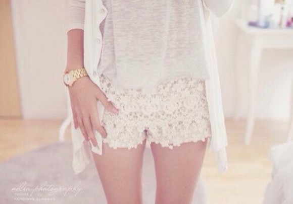 white nude vintage shorts sweet