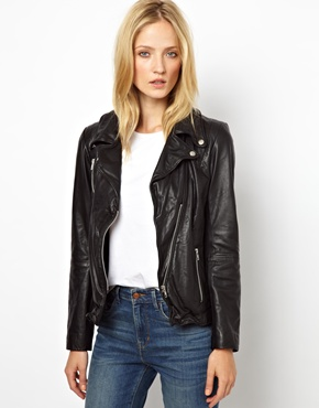 Selected | Selected Foama Leather Biker Jacket at ASOS