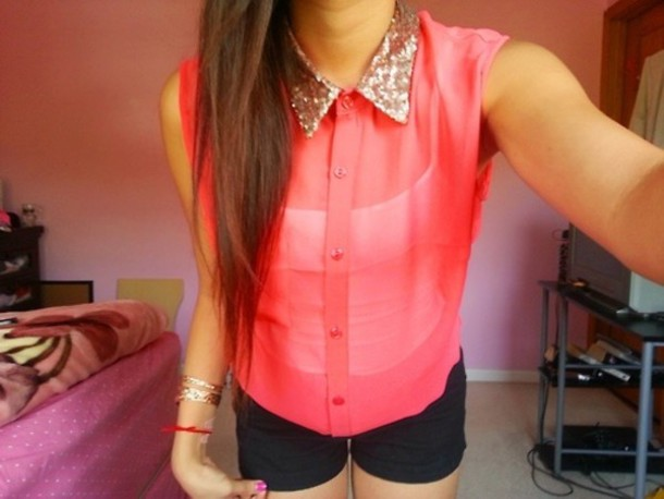 blouse shirt t-shirt pinl pink neon stud studs cute colorful button up button up shoes black rainbow red blue green clothes summer outfits gold collared shirt hot pink shirt floral ,blouse, lace, white, sheer, flowy, shirt