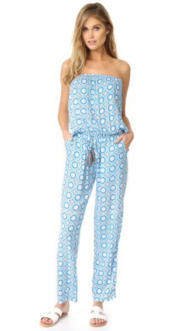 TIARE HAWAII Jenny Jumpsuit in blue / grey / print