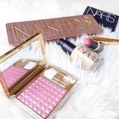 make-up,naked,pallete,nars cosmetics,concealer,gold,luxury,naked 3 pallette,naked pallet,foundation,mascara,eyeliner,eye shadow,makeup palette,cheek blush