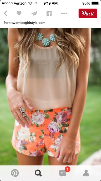 shorts style flowered shorts tumblr outfit cute outfits tank top