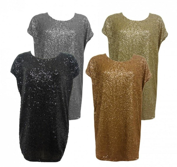 t-shirt sequins party top casual essex silver pewter gold black purple rose fashion online