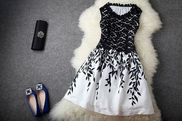 dress black white dress prom dress summer dress