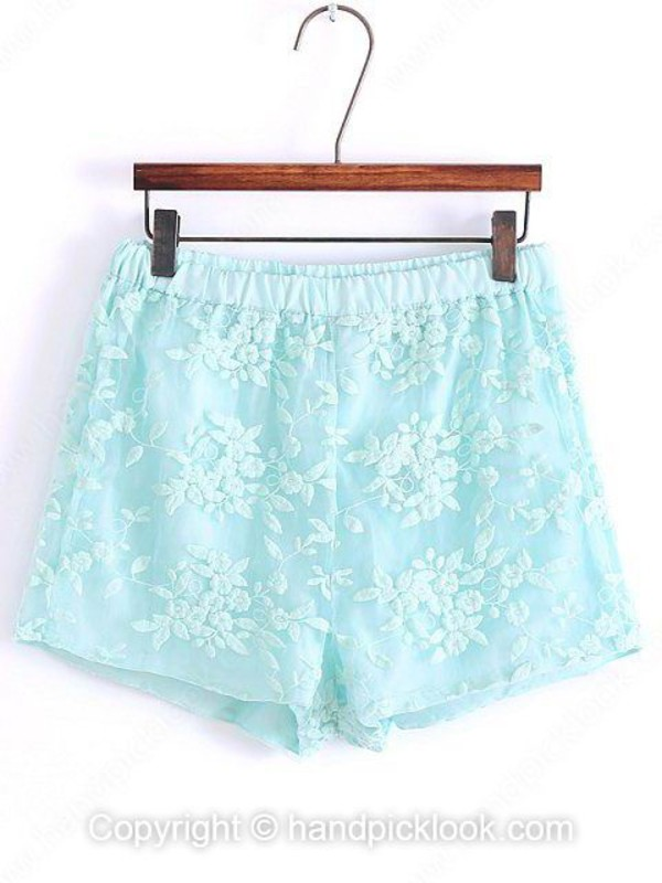 mint blue mint blue shorts lace shorts light blue shorts summer shorts lace dress handpicklook.com