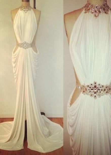 Custom made a line ivory long prom dresses, evening dresses, formal dresses