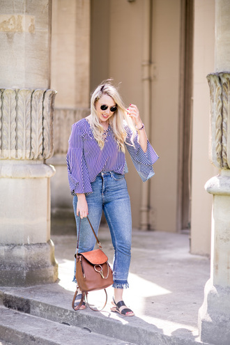 british fashion blog - mediamarmalade blogger blouse jeans shoes sandals summer outfits