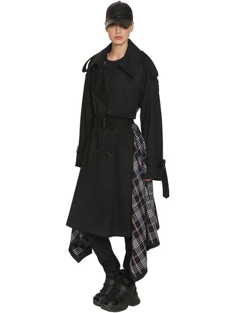 JUUN.J Wool Cloth & Plaid Trench Coat in black