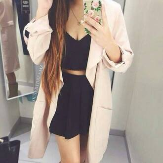 coat blush light pink coat jacket pink jacket elegant shorts