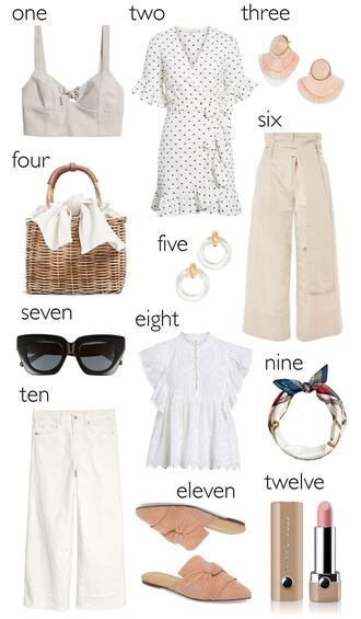 hello fashion blogger dress jewels bag pants sunglasses top scarf make-up spring outfits straw bag loafers crop tops