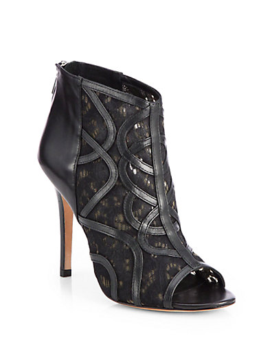 Rebecca Minkoff - Moss Leather & Lace Open-Toe Ankle Boots - Saks.com