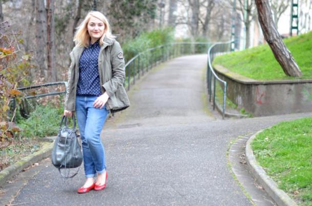 paris grenoble blogger coat blouse jeans ballet flats