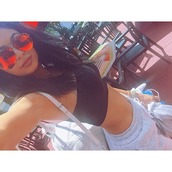 top,sweatpants,kylie jenner,instagram,sunglasses,pants,jewels,kylie jenner orange sunglasses