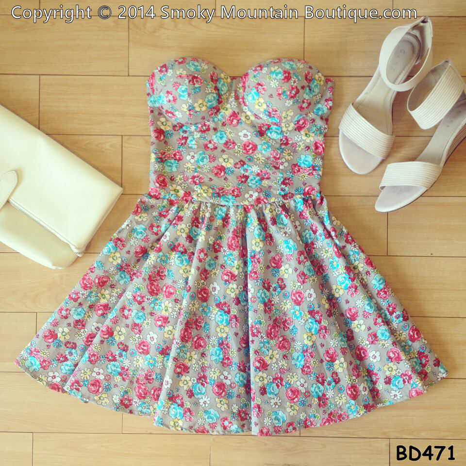 Candy floral vintage bustier dress with adjustable straps