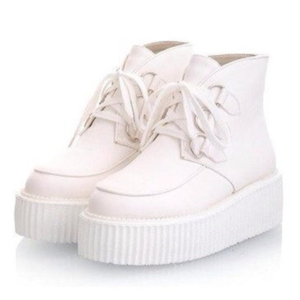 shoes creeper sneakers boot white leather platform shoes vintage
