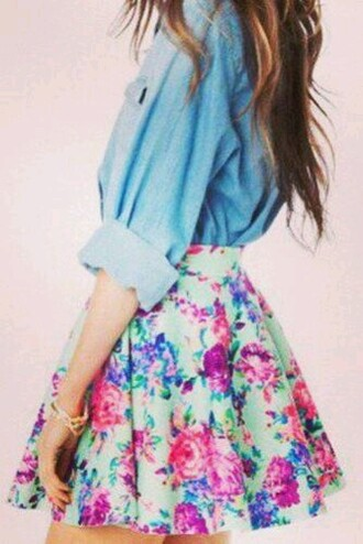 skirt shirt top denim blue blue denim denim shirt denim top cute cute shirt cute top floral floral print skirt floral skirt girly chic flowy fun
