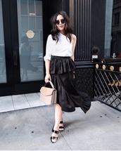 skirt,midi skirt,ruffle skirt,one shoulder top,sandals,blogger,blogger style,deconstructed,handbag