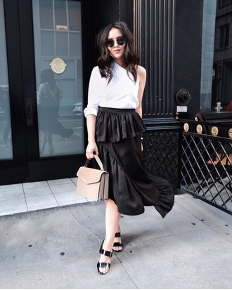 skirt midi skirt ruffle skirt one shoulder top sandals blogger blogger style deconstructed handbag