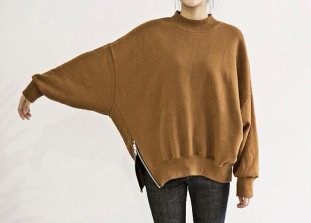 sweater beige zip fashion style zipper sweater brown
