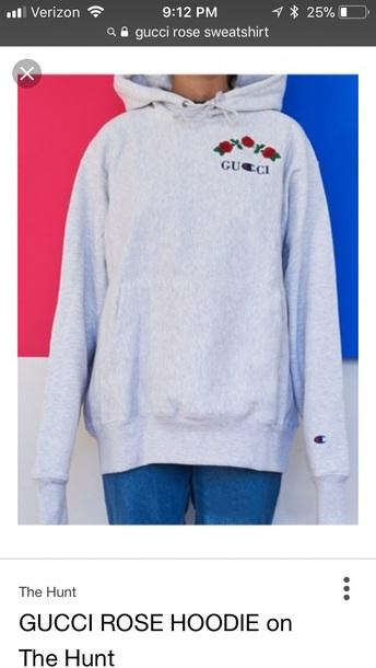jacket gray gucci rose hoodie