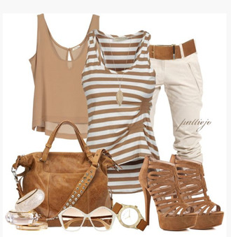 shoes top shirt tank top stripes striped top gathered top walnut brown crop tops key hole back loose bag purse heels high heels stilettos pumps multi strap heels pants khaki pants watch sunglasses bangle bracelets clothes outfit blouse brown earrings designer
