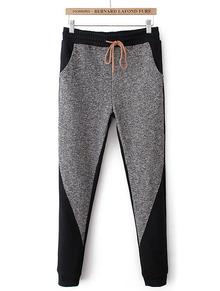 Hose mit elastischer Taille und Kordelzug, grau-Sheinside