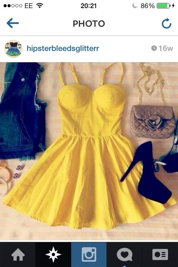 dress strapless dress strapless yellow yellow dress yellow summer dress summer dress summer dress straps heels black high heels instagram
