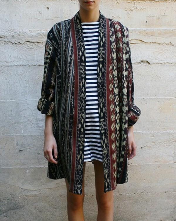 coat indie cute hipster hippie cardigan tribal pattern jacket grunge vintage kimono print stripes sweater dress aztec cardigan navy nautical
