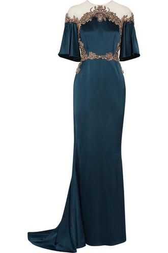 gown embellished blue silk satin dress