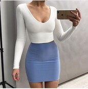 skirt,outfit,outfit idea,summer outfits,cute outfits,spring outfits,date outfit,party outfits,clubwear,clothes,fashion,style,stylish,trendy,top,white top,summer top,cute top,crop tops,white crop tops,long sleeves,long sleeve crop top,cute skirt,mini skirt,pencil skirt,blue skirt,high waisted skirt,blouse,blue,white