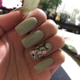 nail polish mint green nails cherry blossom spring spring nails cherry blossom nails