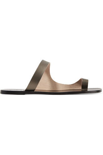 metallic sandals leather sandals leather shoes