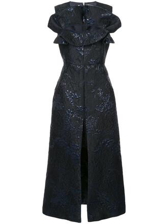 dress women jacquard black silk wool
