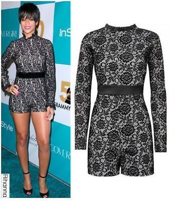 Ladies rihanna long sleeve scalloped floral lace playsuit jumpsuit dr…