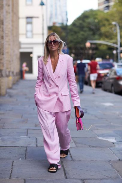 jacket pink pink blazer blazer sandals flat sandals black sandals sunglasses bag pants wide-leg pants pink pants