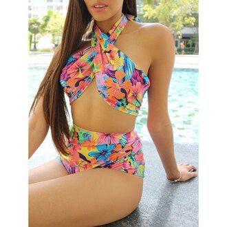 swimwear floral trendy bikini colorful summer beach rose wholesale-ap one piece swimsuit gamiss tropical fashion high waisted bikini girly tan pattern sexy style trendsgal.com
