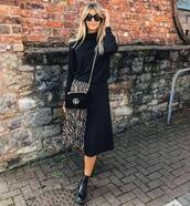 skirt,midi skirt,plaid skirt,zebra print,ankle boots,black boots,sweater,black sweater,crossbody bag,mini bag,sunglasses
