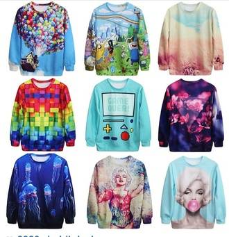 sweater colorful swag fashion pullover blue yellow pink orange red green