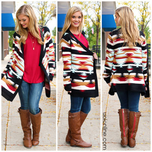 aztec cardigan print orange fall outfits fall outfits unique