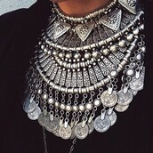 jewels,necklace,statement,silver,metal