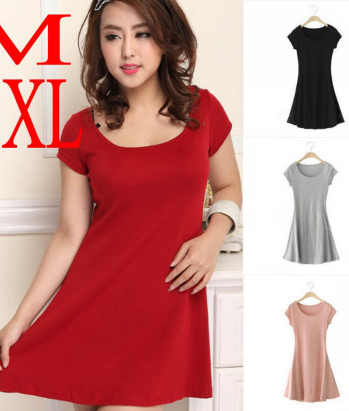 summer 2014 multicolor short sleeve cotton plus size casual dress mini sundress M-3XL apparel womens | Amazing Shoes UK
