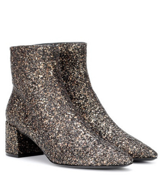 Saint Laurent Loulou 50 glitter ankle boots in gold