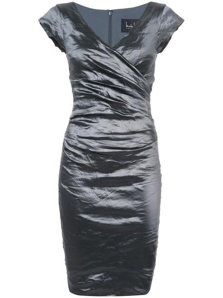 Nicole Miller dress metallic women spandex grey