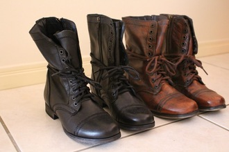 shoes boots leather steve madden combat boots