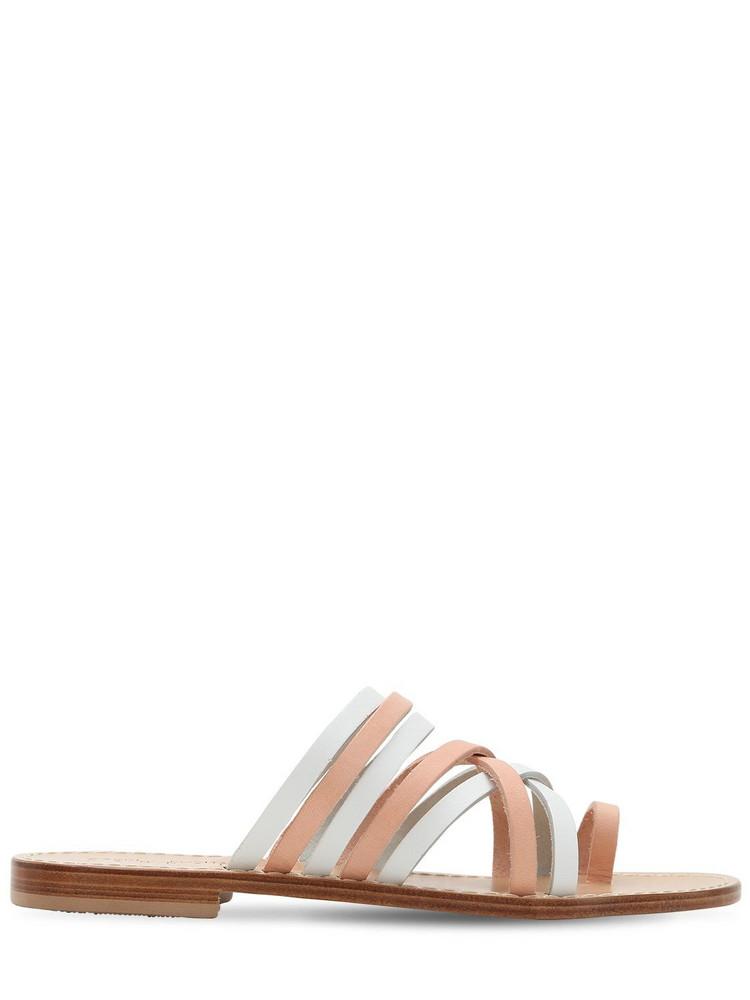 CAPRI POSITANO 10mm Ieranto Leather Sandals in tan / white