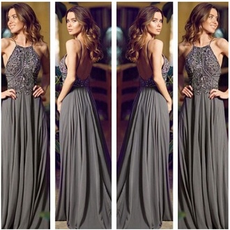 dress grey backless halter top long dress long dress grey long dress open back dresses dress for prom grey prom dress