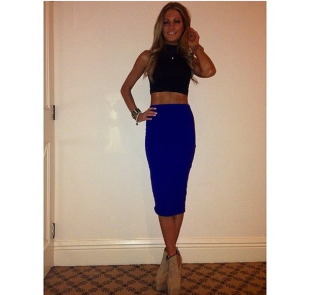 7eb046aee skirt, shoes, heels, black crop top, blue skirt, tan, wedges, crop ...