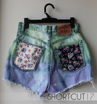 floral blue shorts white black pink purple colorful dye roses fade fade jeans lovely