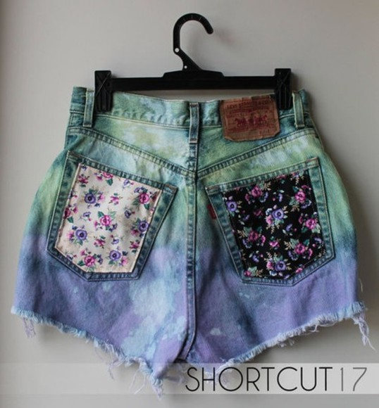 floral pink flowers blue purple shorts colorful black white roses dye fade fade jeans lovely