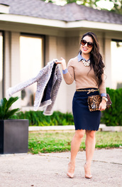 cute & little,blogger,top,sweater,shirt,belt,skirt,bag,shoes,jewels,sunglasses,blue skirt,animal print bag,clutch,nude heels,high heel pumps